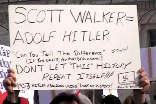 Sign from previous Wisconsin protest.